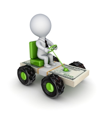 Stylized small car made of dollars  photo