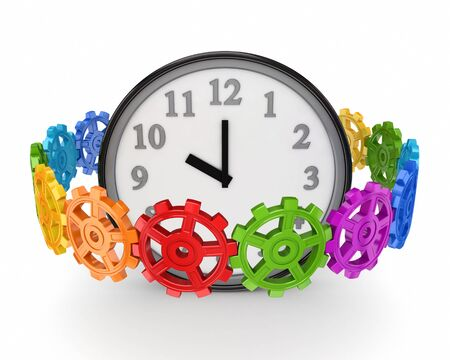 Colorful gears around big watch  photo