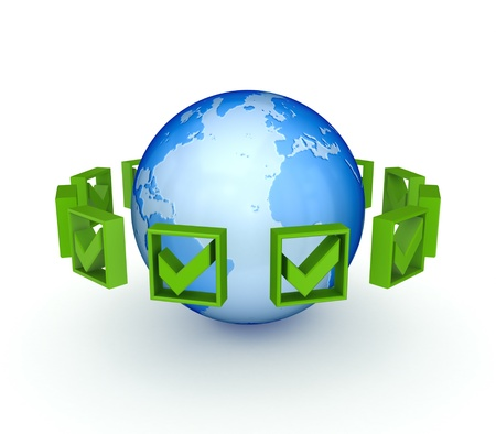 Green tick marks around the earth  Stock Photo - 13942511