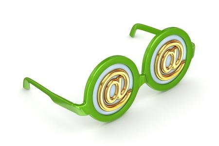 round glasses: Gafas redondas con AT s�mbolo Foto de archivo