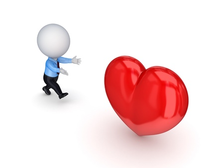 avidity: 3d small person running to a red heart