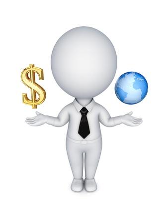 agente comercial: 3 ª persona con un signo de dólar y el planeta tierra