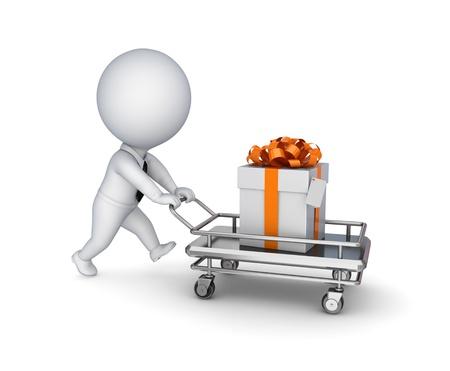 carretilla de mano: 3 ª persona pequeña, carrito de la compra y caja de regalo