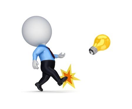 3d small person kicking an idea symbol  photo