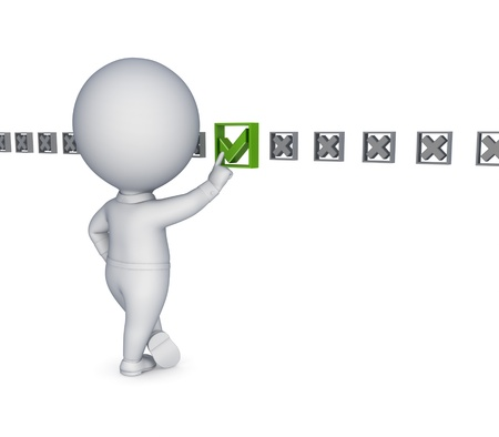 3d small person choosing a tick mark Stock Photo - 13968114