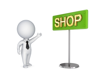 3d small person pointing on a bunner SHOP Stock Photo - 13968047