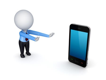 3d small person pulling hands to mobile phone