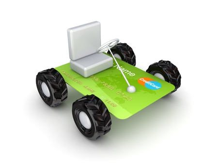 Stylized small car made of credit card  photo