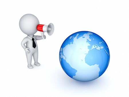 speaking trumpet: 3d small person with megaphone and big globe