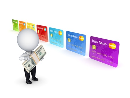 3d small person and colorful credit card  photo