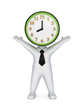 3d small person with a clock instead the head  Stock Photo - 13968104