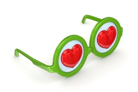 round glasses: Gafas redondas con un coraz�n rojo en el interior Foto de archivo