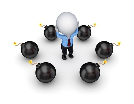 Black bombs around stressed 3d small person Stock Photo - 13968187