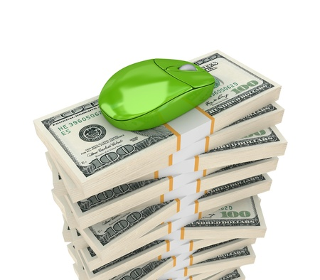 financial controller: Big stack of dollars and PC mouse