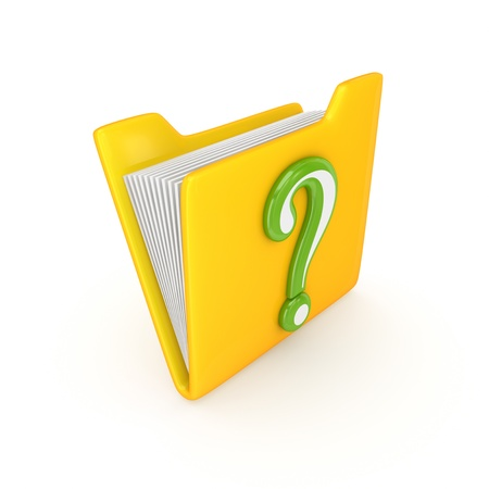 Yellow folder and green query sign  photo