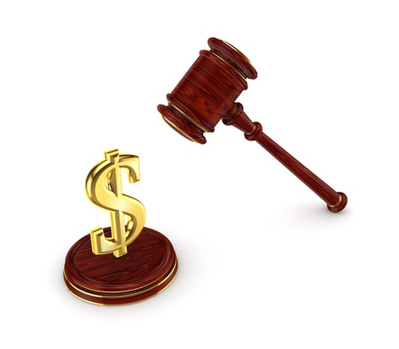litigation: Dollar sign and wooden hammer  Stock Photo