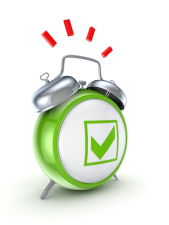 green tick: Vintage watch with a green tick mark  Stock Photo