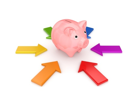 Colorful arrows around pink piggy bank  photo
