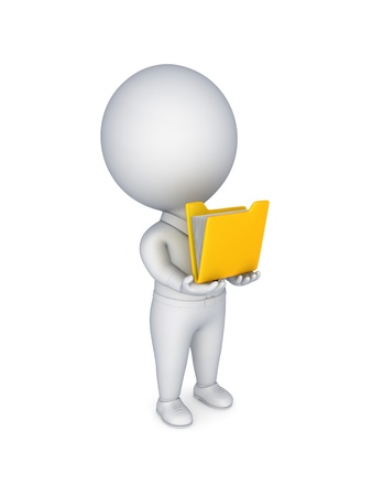 3d small person with a yellow folder in a hands