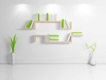 Modern interior composition with a beige bookshelf. 3d rendered. photo