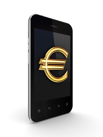 Mobile phone with golden euro sign on a screen  photo