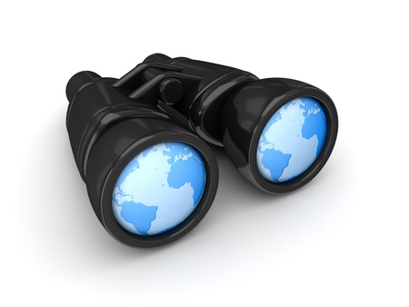 binoculars: Worldwide search concept  Stock Photo