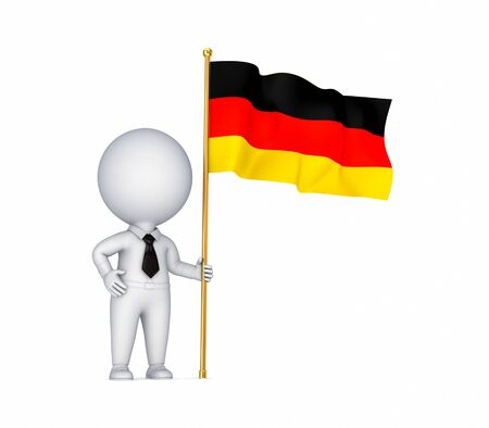 german flag: 3d small person with a German flag in a hand