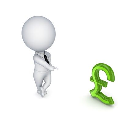 3d small person and pound sterling sign photo
