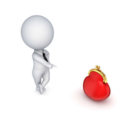 3d small person with a red purse Stock Photo - 14072525