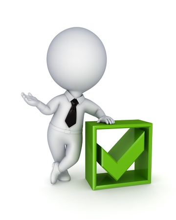 green tick: 3d small person and green tick mark