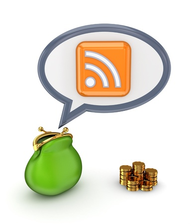 Green purse, gold coins and RSS symbol  photo