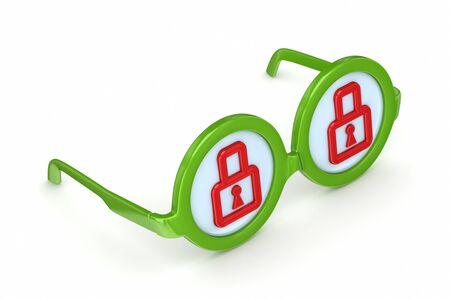 round glasses: Gafas redondas con un s�mbolo de candado en el interior Foto de archivo