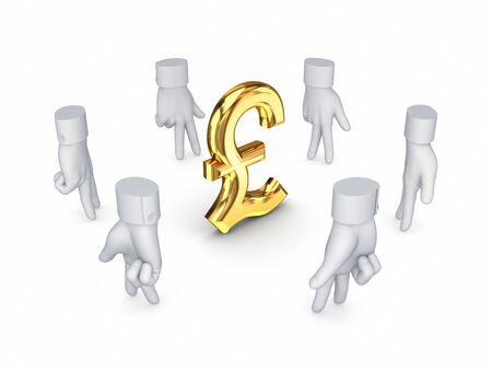pound sterling: Stylized cursors  around pound sterling sign  Stock Photo