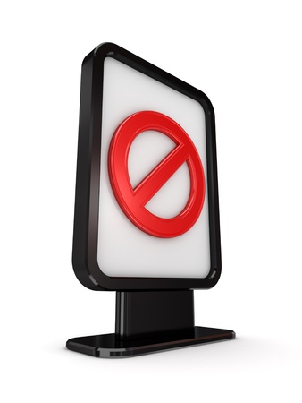 Black lightbox with red stop symbol  photo