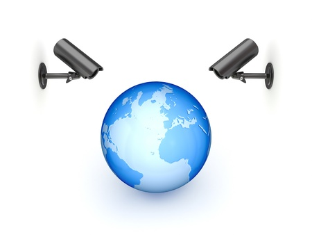 Observation cameras and big globe  Stock Photo - 14072127