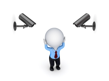 Observation cameras and stressed 3d small person Stock Photo - 14071671