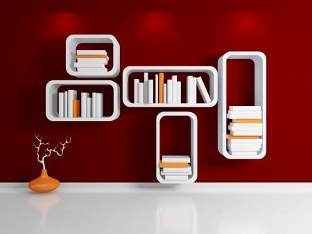 Modern bookshelf  Stock Photo - 14072116
