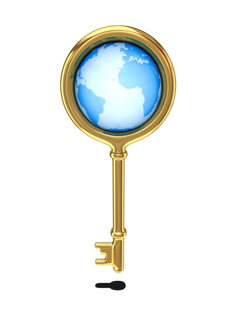 Golden key with a globe inside  photo