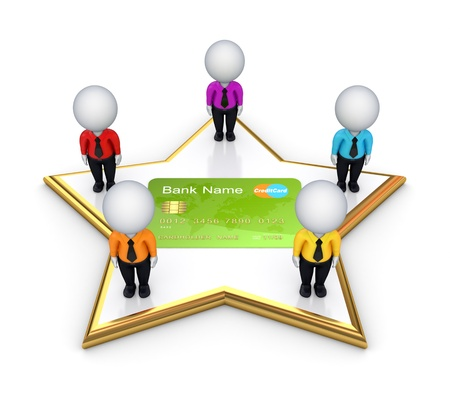 3d small people on a star around credit card Stock Photo - 14073282