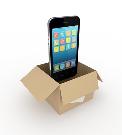 package shipment: Modern mobile phone in a carton box