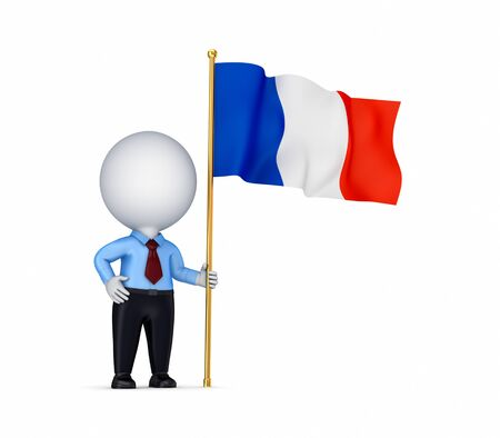 french flag: 3d small person with a  French flag in a hand