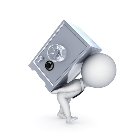 key box: 3d small person and iron safe