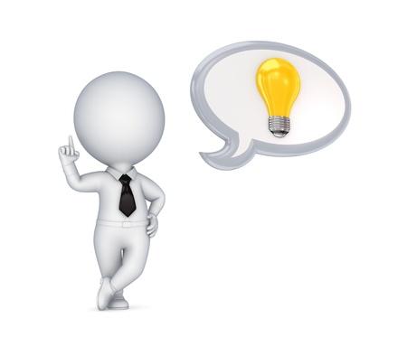 ideas brillantes: 3 � persona peque�a con un s�mbolo de la idea Foto de archivo