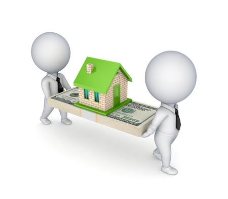 sold small: 3d people, small house and dollar pack  Stock Photo