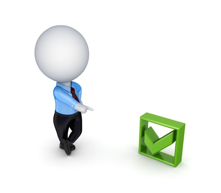 3d small person and green tick mark Stock Photo - 14072263