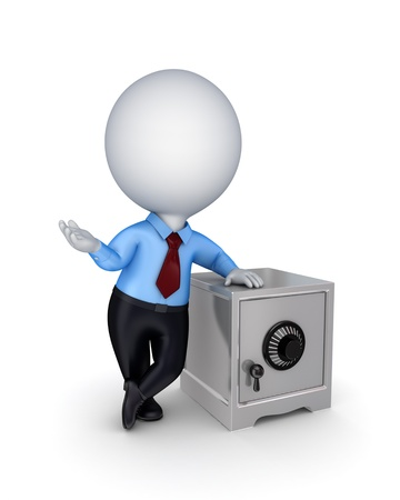 3d small person and iron safe Stock Photo - 14072511