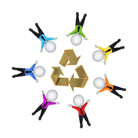 3d small people around recycle symbol  Stock Photo - 14073069