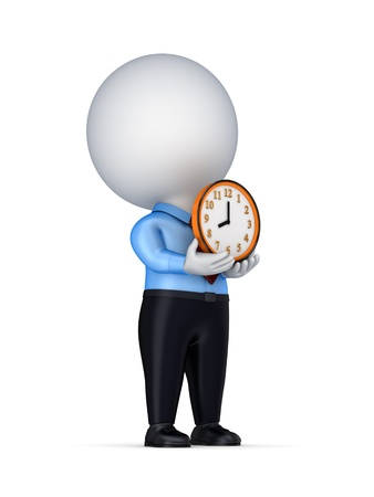 3d small person with a colorful clock in a hands  Stock Photo - 14072011