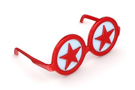 round glasses: Gafas redondas con algunos s�mbolos de estrellas en el interior Foto de archivo