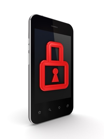 Modern mobile phone with a red lock on a screen  Stock Photo - 14072171